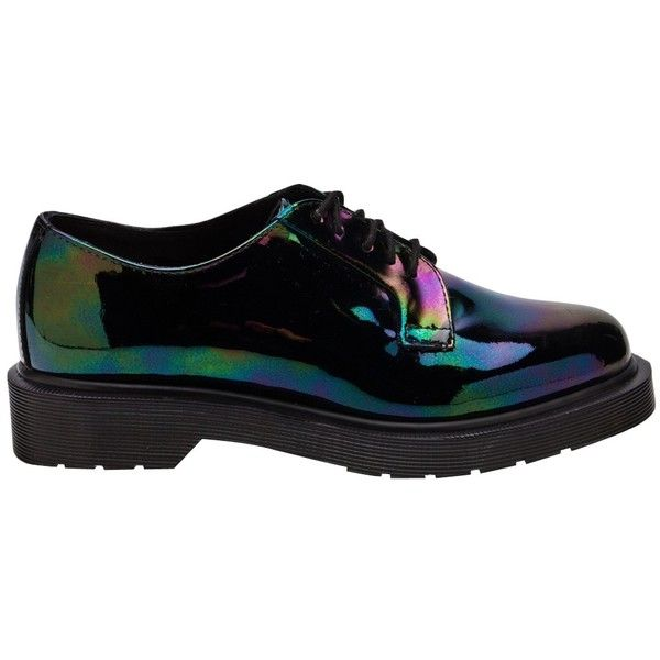 Dr.Martens - Lex Five-Eye Shoe ($176) ❤ liked on Polyvore featuring shoes, flats, women, dr.martens flats, black patent leather shoes, black flat shoes, patent flats and flat shoes