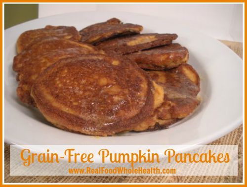 Easy grain-free pumpkin pancakes with coconut flour. A simple, real food recipe.