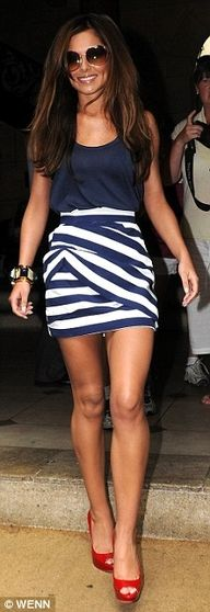 Blue :):  Minis, Red Shoes, Cute Outfits, Dresses, Red Heels, Stripes Skirts, Cheryl Cole, 4Th Of July, The Navy