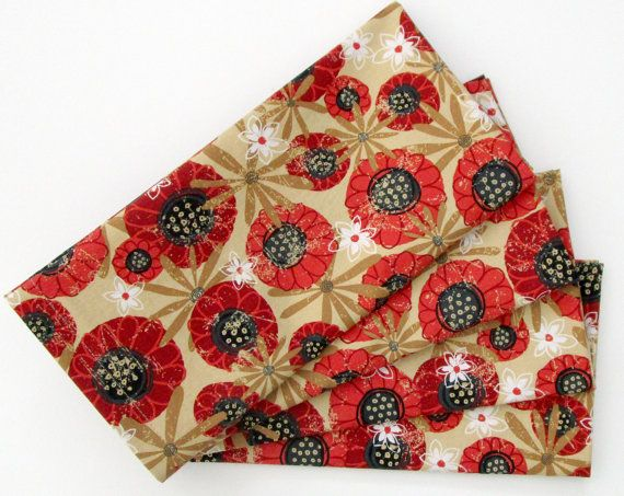 Lovely red poppies, and white and dark gold flowers, on a beige background.  Have nothing in your houses that you do not know to be useful or believe to be beautiful. William Morris. I believe everyday objects should be a joy to behold, and well-made.  QUALITY  My napkins are nicely finished with a folded over hem, not serged, so they are perfect for an elegant dinner party as well as every day use. Made from soft, thick 100% cotton quilters weight fabric. I use designer fabrics from high…