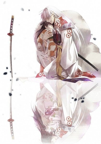 Tags: Anime, Fanart, Rin (InuYasha), InuYasha, Sesshoumaru. The reflection makes me so happy!!!
