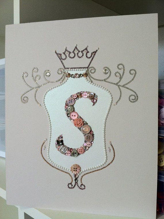 Button Art Custom Monogrammed Crest Family Crest! Amazing baby gift or wedding gift!