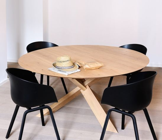 50165 ethnicraft design alain van havre table circle ch ne dimensions l 136 x h 76 x p - Meubles delmas merignac ...