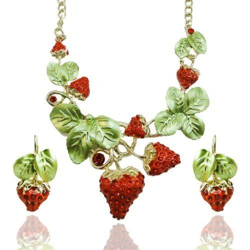 """Ever Faith Vintage Style Strawberry Necklace Earring Set Austrian Crystal Red Fruit Ever Faith. $35.95. The chain measures approx.22.05""""-24.41"""" inside circumference length,earrings measures approx.1.38"""" L by 0.71"""" W.. Chain Size 22.05""""-24.41"""" Earring Size 1.38"""" by 0.71"""". Just express your favorite romantic emotion with this strawberry necklace earring set"""