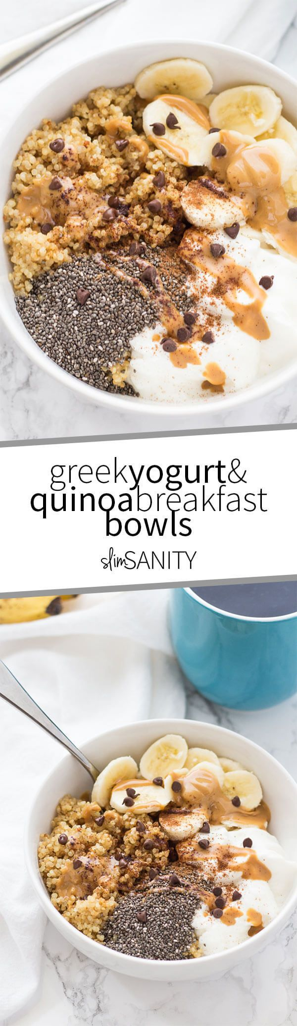 Greek yogurt and quinoa breakfast bowls are a simple and delicious way to eat a healthy breakfast that is high in protein! | slimsanity.com
