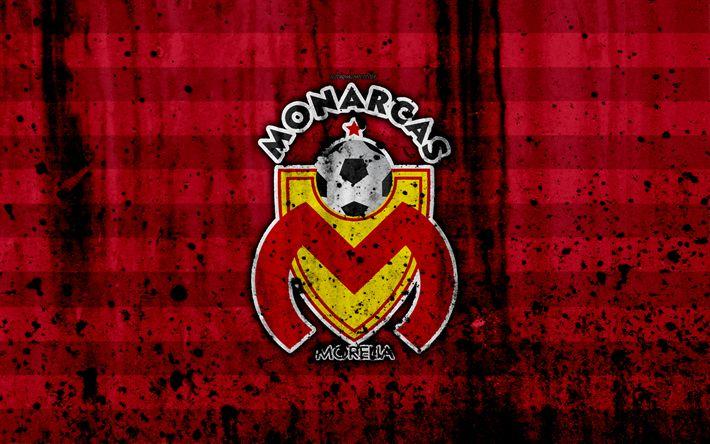 Download wallpapers 4k, FC Monarcas, grunge, Liga MX, soccer, art, Primera Division, football club, Mexico, Monarcas, stone texture, Monarcas FC