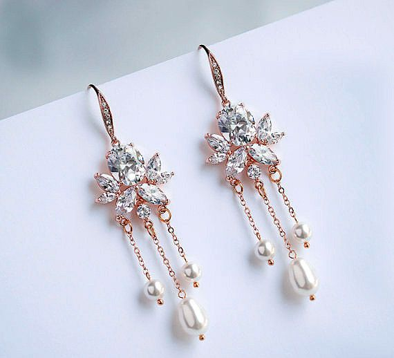 Swarovski Pearl Chandelier Earrings, Wedding Bridal Crystal Earrings   NORA
