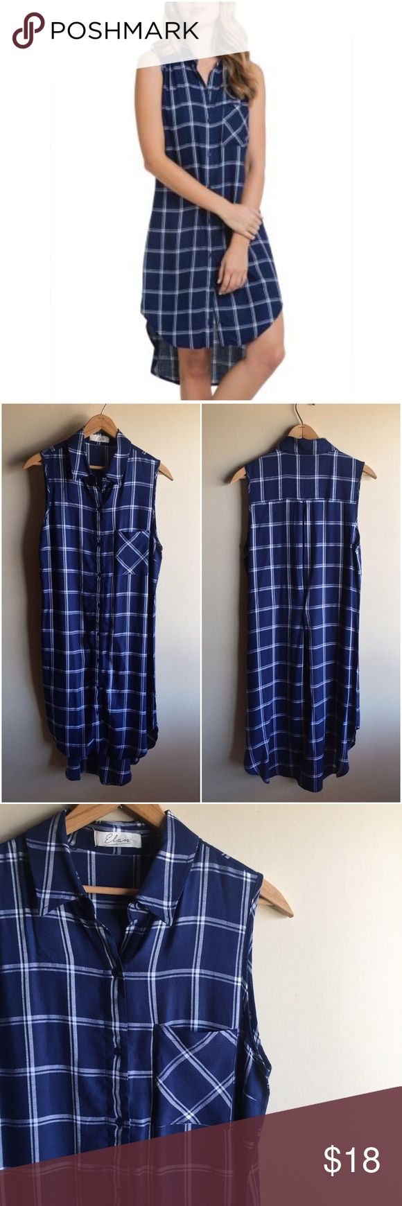 """Navy blue plaid shirt dress Cute button front sleeveless shirt dress with a high low hem. Lightweight polyester. Measures 19"""" from underarm to underarm and 38""""-43"""" long. Great condition!! Elan Dresses"""