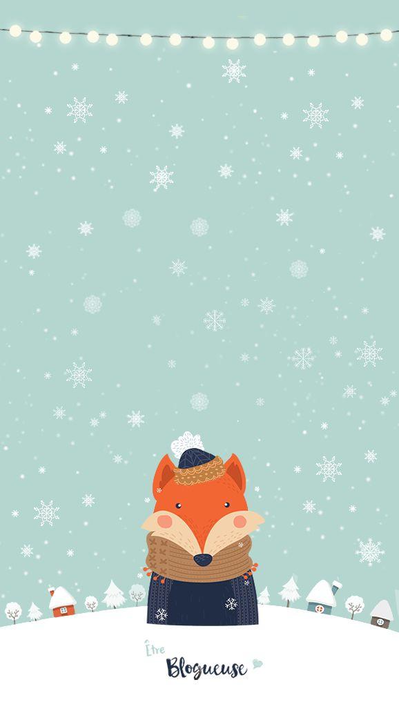 Fond ecran hiver iphone snow neige renard baby it's cold ...