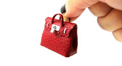 Berkin st Red Artist bag Designer Artisan handmade miniature purse handbag for dollhouse