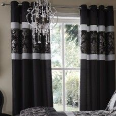 90x90in (228x228cm) Glamour Jacquard Damask Black Eyelets Curtains