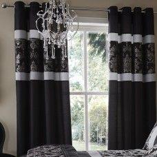 90x90in (228x228cm) Glamour Jacquard Damask Black Eyelets Curtains