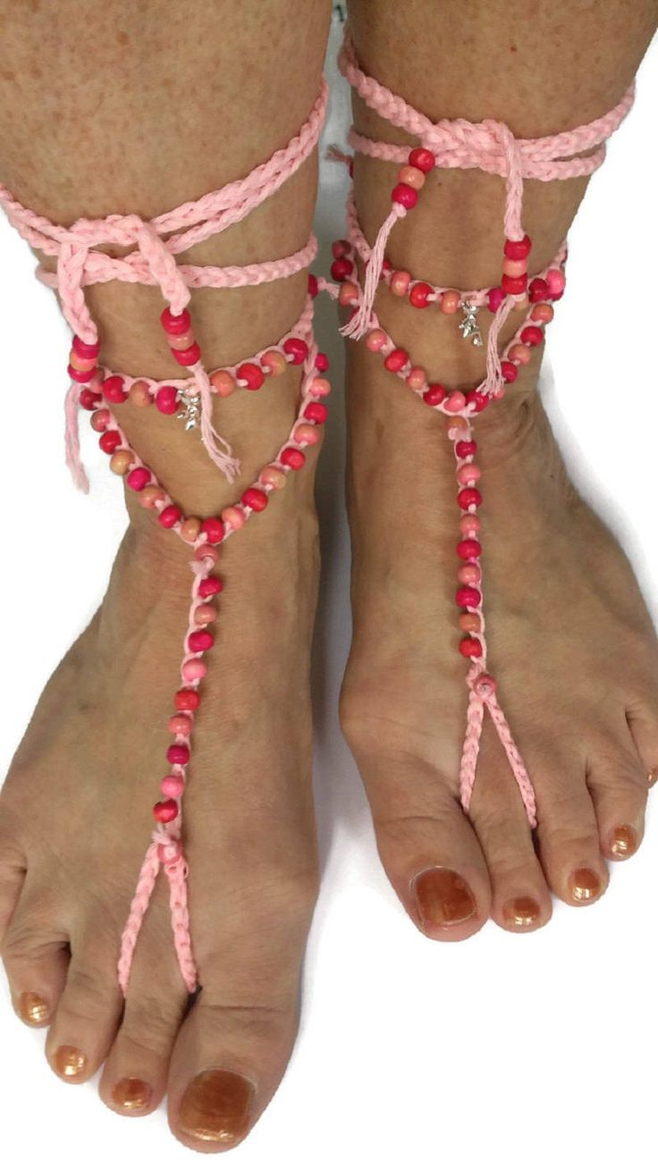 Pink Barefoot sandals  Beaded Fairy Princess Crocheted Beach Yoga Festival Pool Slave anklet Crochet by thekittensmittensuk on Etsy
