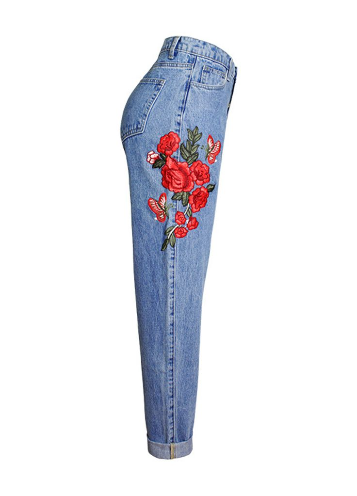 Side Rose Embroidery High Waist Wash Denim Boyfriend Jeans_Boyfriend Jeans_Women Jeans_Sexy Lingeire | Cheap Plus Size Lingerie At Wholesale Price | Feelovely.com