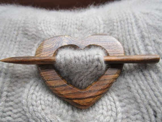 Wooden Heart Shawl Pin - Handmade Wooden Shawl Pin - Reclaimed Wood - Eco Knitting Supplies