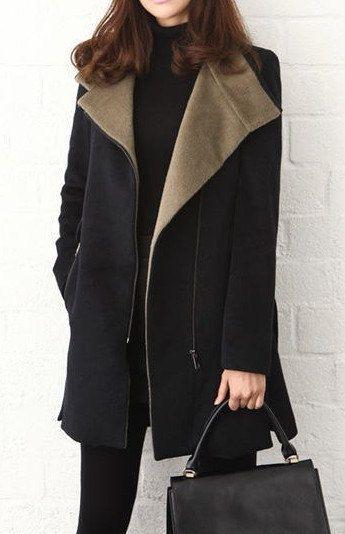 2color  Wool coat zipper Coat Jacket Autumn by prettyforest22, $65.00