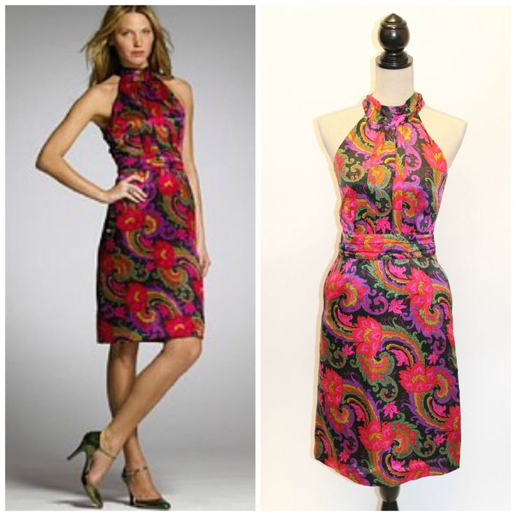 J.Crew Collection Isabella Paisley Silk Halter Cocktail Sheath Dress 2 #JCrew #Sheath #Cocktail