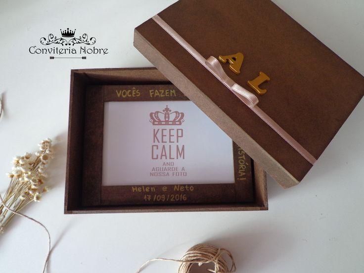 Caixa de MDF com tampa 19cmX14cmX5cm Pintura rústica acabamento em fita cetim + iniciais do casal ou dos padrinhos Porta Retrato 10cmX15cm pintura rústica + personalização (frase) acompanha cartão personalizavel