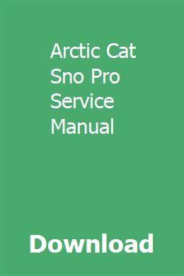 arctic cat sno pro manual