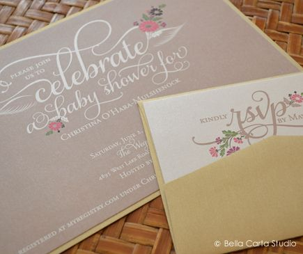 This chic baby shower invitation features a unique taupe and gold color palette. Delicate flowers and calligraphic details add sweet touches to the invitation and reply card. This set is soft and feminine, perfect for this mother-to-be.