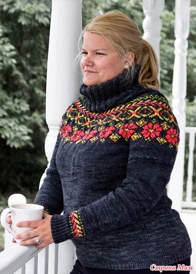 Решила я подарить всем участникам нашей группы перевод этого красивого свитера от Карлы Плетцер... (перевод мой) Сразу предупреждаю: Свитер не для новичков в жаккарде...
