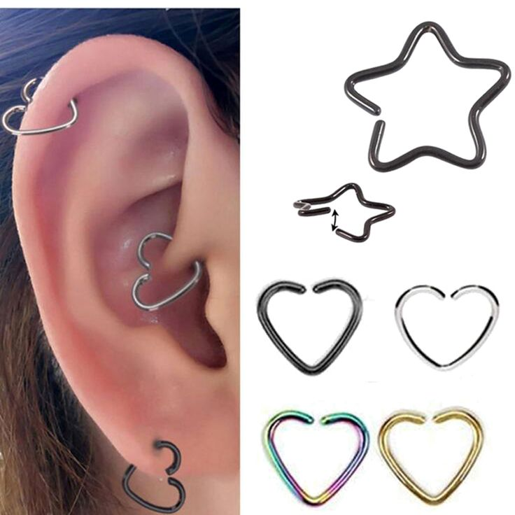 2Piece Free Shipping 16G 1.2mm Daith Orbital Piercing Earring Heart Titanium Tragus Ear Piercing Cartilage Star Body Jewelry