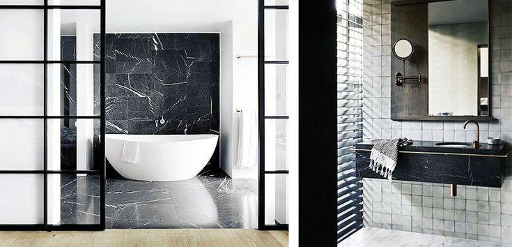 Cuartos de baño decorados con mármol negro - http://www.decoora.com/cuartos-de-bano-decorados-con-marmol-negro/