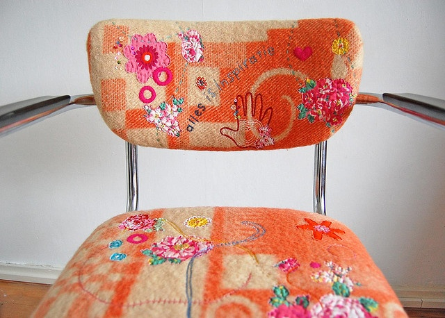 Chair upholstered in vintage blankets and embellished with embroidery.  How beautiful and creative. Created by Jane Schouten.