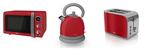 Swan Kitchen Appliance Retro Set - Red Microwave, Red Dome Kettle &...