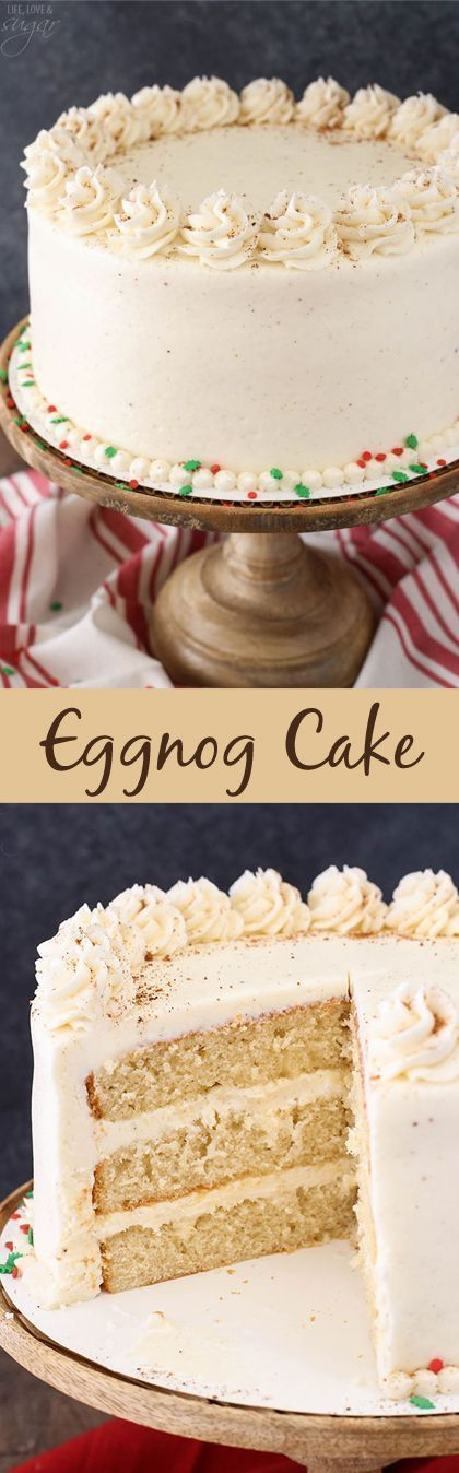 his Eggnog Layer Cake is super moist, fluffy and FULL of eggnog flavor! It has more than one cup of eggnog between the cake and frosting, as well as rum flavoring in the frosting. So good and perfect for Christmas!