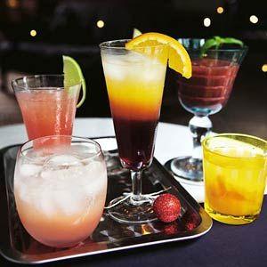 Sparkling gin lemon, seabreeze, tequila sunset, aardbeien daiquiri, perzik punch