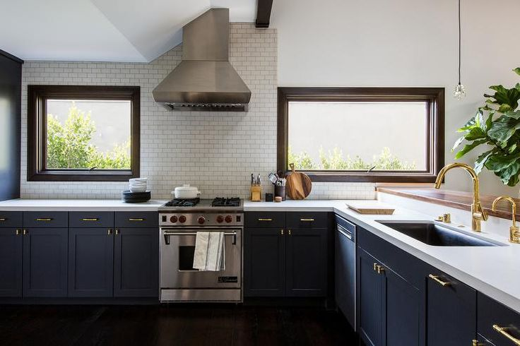 Brass And Navy Fixtures With Navy Cabinets Blue Stained