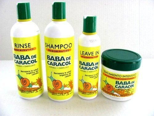 Baba De Caracol Hair Intensive Treatment Set by Gifts by Lulee. $49.99. Bring life, elasticity and shine back to your hair. Made in Dominican Republic by Halka Industrial. Leave In formula designed to eliminate dryness and split ends with allantoine.. detangles, softens and nourishes dry and damaged hair.. BABA DE CARACOL REGENERATIVE SHAMPOO SEDA INTEGRADA SIZE : 16 oz BABA DE CARACOL REGENERATIVE RINSE SEDA INTEGRADA SIZE : 16 oz BABA de CARACOL Intensive Treatment ...