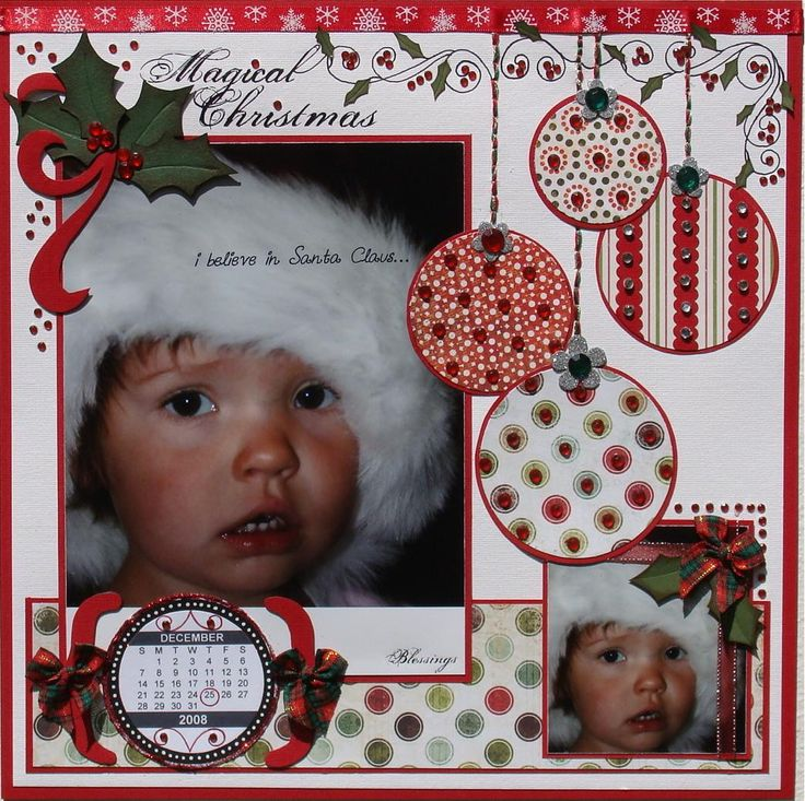 """Magical Christmas Page...with sweet paper """"ornaments"""". ✿Join 1,400 others and Follow the Scrapbook Pages board. Visit GrannyEnchanted.Com for thousands of digital scrapbook freebies. ✿"""