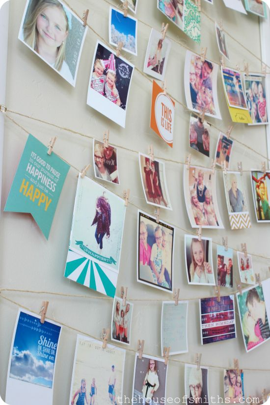 Love the idea of putting a string and clothespins on a wall | definitely want to do this!