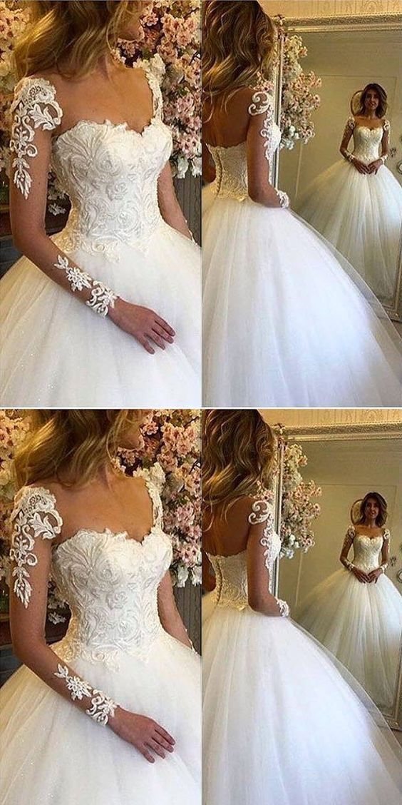 Chic Ball Gown V-Neck Long Sleeves Appliques Floor-Length Wedding Dress M1195