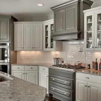 Kitchen with White and Gray Cabinets, Transitional ...