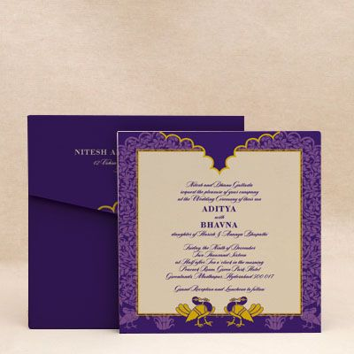 Birds In Paradise Purple: Wedding Invitation Cards , E-Card Designs #WeddingCard #WeddingInvite #WeddingInvitations #WaterColor #IndianWedding #paisleys #ChristianWedding #YouAreInvited #Foil #Gold #Bling #Blue #Violet #RSVP #SaveTheDate #Birds #Of #paradise #Mughal #Design