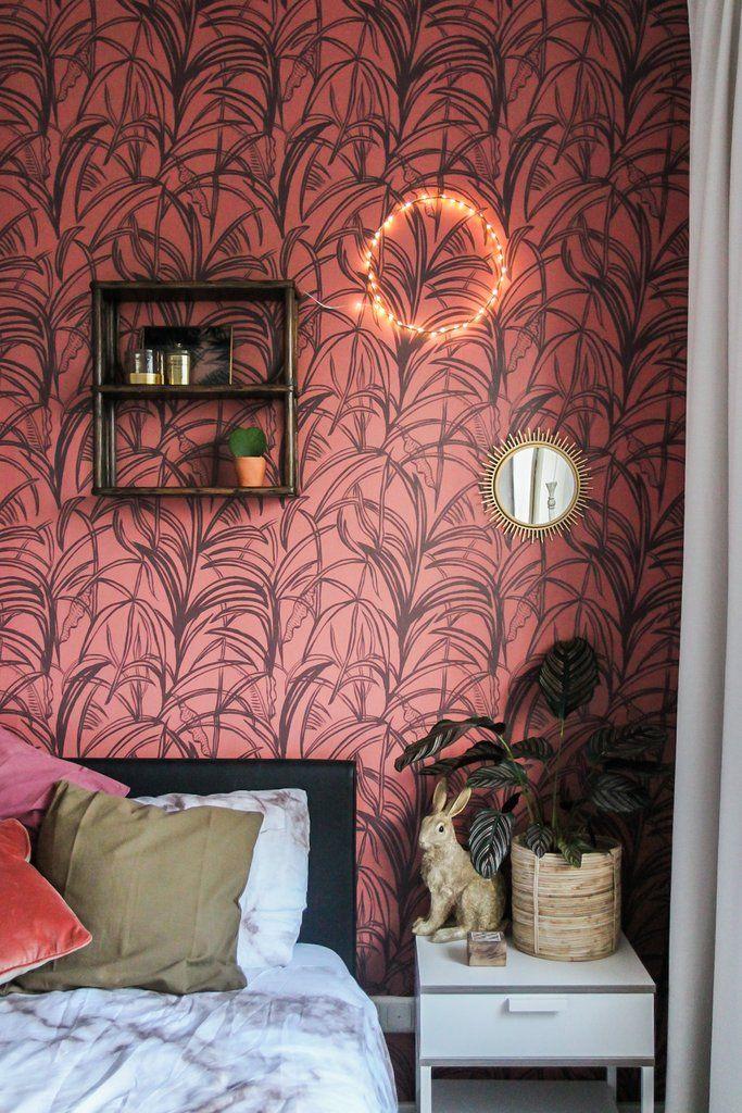 Interieur Ideeen Behang.Behang Palmleaves Bordeaux Rood Behang Ideeen Voor