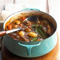 Meat and potatoes simmered in dark beer, onions, thyme and parsley