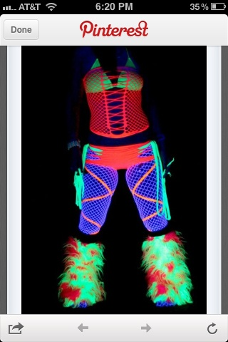 Neon rave outfit...but in purple and turquoise