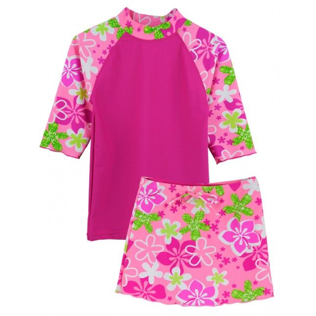 Girl's TROPICAL BREEZE Three Piece Set by TUGA in ROSITA. Colorful and Chic Swim Set Includes 3/4 Sleeve Swim Top, Skirt and Bikini Bottom (not shown), Always Chemical Free Fabrics, Perfect for Sensitive Skin and UPF 50+ Rated, Maximum UV Sun Protection for Apparel!