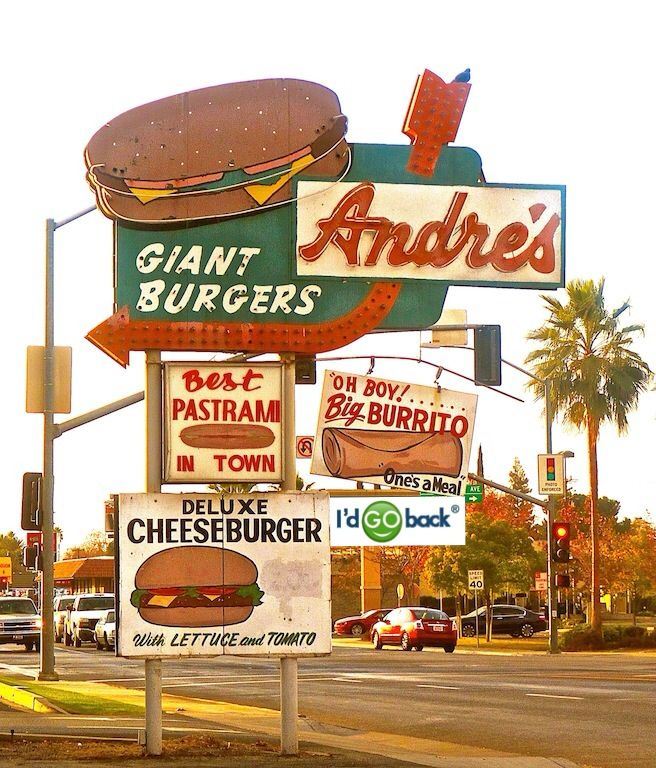 The legendary Andre's burgers and their iconic sign in Bakersfield, Ca #food #restaurants #IdGoBack