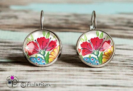 Glass cabochon Earring Folklore Earrings Dangle Earrings Flower Jewelry Floral Jewellry by Pinturicon on Etsy