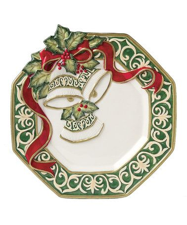 Fitz and floyd christmas bells canap plate ps le 39 veon for Fitz and floyd canape plate