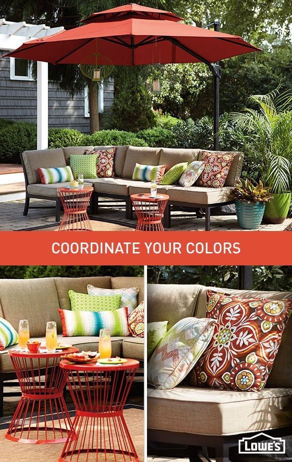 Eye–catching accents, like pillows and garden stools, extend your style to the outdoors. Add a coordinating umbrella to create a cohesive space.