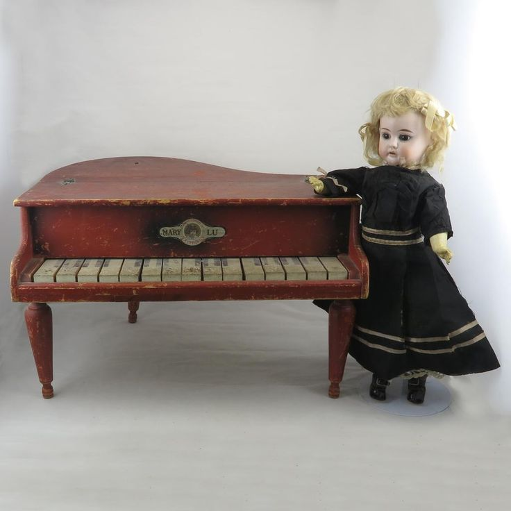 "Small Grand Piano by Mary Lu It Works! C1920. This Mary Lu toy line was made by the JC Penney company in the 1920s-1930s. This is an early piano from the late 1920s. The piano measures 16"" wide x 14"" deep x 10"" high."