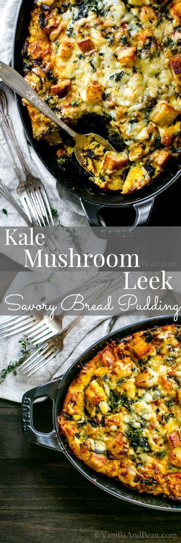 Make ahead for those busy weekend mornings. Kale, Mushroom, Leek Savory Bread Pudding makes a hearty breakfast, brunch or dinner. Vegetarian.