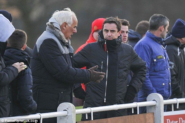 Neville Neville and son Gary talk football as Salford City were beaten 3-1 by Brighouse Town