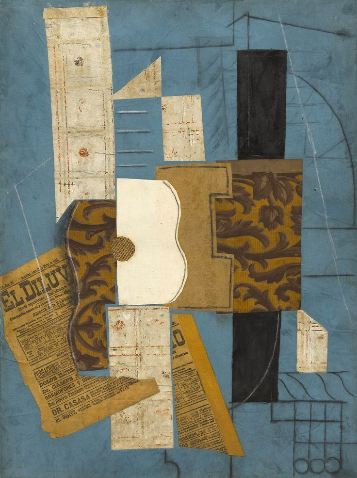 Pablo Picasso, Céret (Guitar); Cut-and-pasted newspaper, wallpaper, paper, ink, chalk, charcoal, pencil on colored paper, c. 1913
